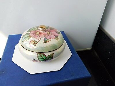"MALING  LUSTRE LIDDED DAHLIA POWDER BOWL.HAND PAINTED  4.1/2"" dia.  MINT  .RARE"