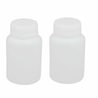 100ml 28mm Diameter HDPE Plastic Round Wide Mouth Bottle White 2pcs
