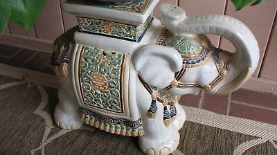 Vintage Elephant Garden Stool Plant Stand Chinoiserie Ceramic Accent Table Asian
