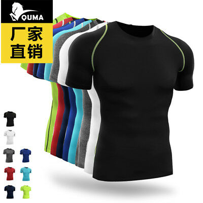 Mens Compress Top Tight Short Sleeve T-Shirt Quick Dry Bodybuilding Fitness Gym
