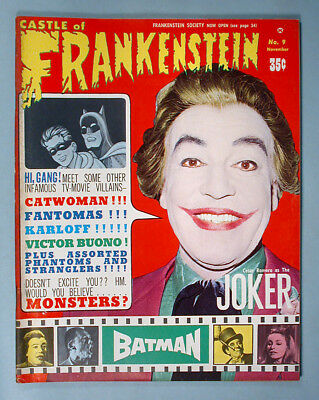 1966 Batman Joker Cover Issue Castle Of Frankenstein Monster Mag #9 Adam West