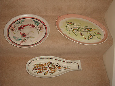 vintage denby stoneware hand painted G Colledge 3 x plates including fish shape