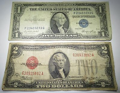 1928 U.S. Two Dollar Bill & 1935 US 1 Silver Certificate 2 Old Antique Currency