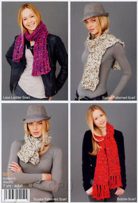 Stylecraft Knitting Pattern 8818 Ladies Girls 5 Design Scarves Easy Super Chunky