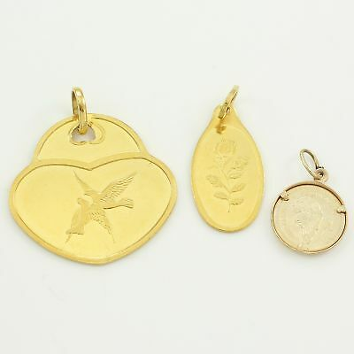 VINTAGE Lot of 3 .999 Fine GOLD Coin PENDANTS 3.5g PAMP Switzerland South Africa