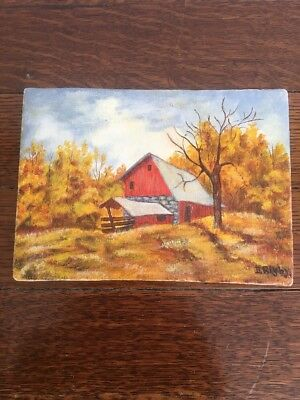 Beautiful Antique Original Oil Painting Fall Landscape Red Barn Signed Rigby