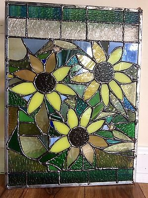 """Stained Glass  Autumn Sunflowers Transom Window Panel   12""""x16"""""""