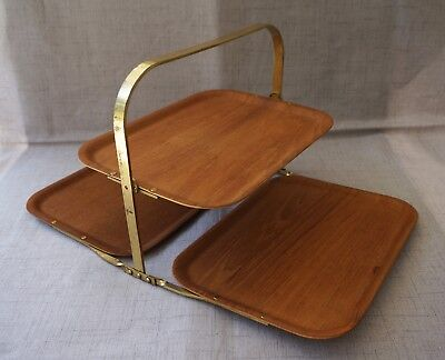 RAINBOW Made in Sweden TEAK and BRASS FOLDING TIERED SERVING TRAYS - Mid Century