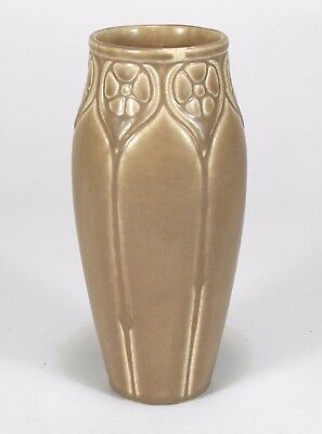 Rookwood Pottery production 1925 floral vase tan brown arts & crafts