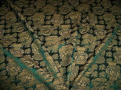 Lee Jofa Kravet Chinoiserie Oriental Vases Damask Fabric 10 Yards Emerald Gold
