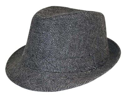 Black Mens herringbone Trilby Hat , Small to large avail £9.99 Only