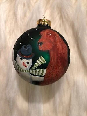 Hand painted Irish Setter Christmas Ornament Great Gift For Setter Lover
