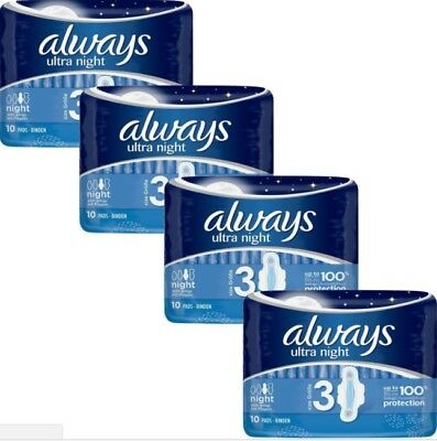 Always Ultra NIGHT Sanitary Pad Towels with Wing Quattro Pack 40 100% Protection