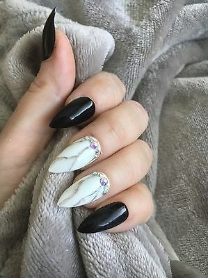 Hand Painted FALSE NAILS - Black - Marble -crystal- STICK ON