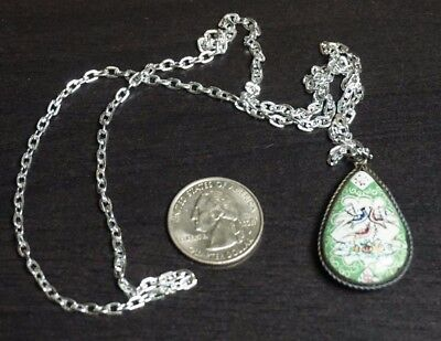 Vintage Antique Silver Persian Mother of Pearl 2 sided Pendant Hand Painted A21
