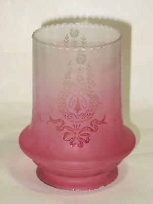 Etched Victorian Frosted Cranberry Glass Shade, Suitable for Oil Lamp. Excellent