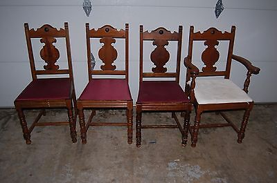Set of 6 Vintage Mahogany Chairs Dining Room Kitchen Antique Side & Captains