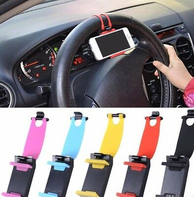 Universal Car Steering Wheel Cradle Cell Phone Holder Clip Bike Mount Stand USA