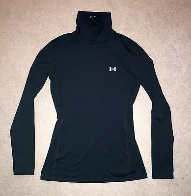 Under Armour Cold Gear Compression Fitted Mock Neck Long Sleeve Shirt M Black