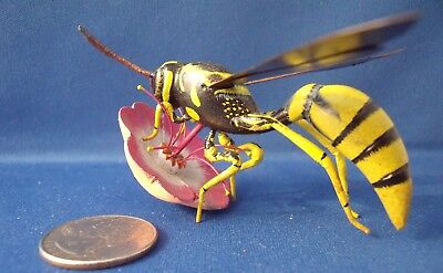 Bee Hornet Wasp on Flower Model - Hand Painted - Wood & Plastic - Very Realistic
