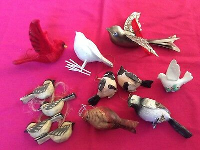 Lot Of Assorted Bird Ornaments Figures Ceramic Resin Wood Silver