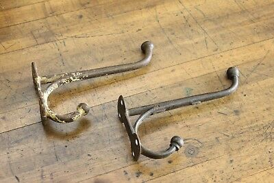 "Pair x2 Rustic 8"" Antique Cast Iron Coat Hat Industrial Hooks Vintage Farm Barn"
