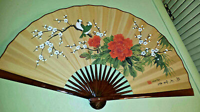 "Vintage *JAPANESE FAN*Hand Painted 36"" Wall Décor*Golden*Artist Signature*BEAUTY"