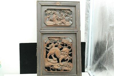 ANTIQUE Chinese Wall Panel Plaque Gold Wood Hand Carved