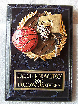 Basketball League Trophy Award Plaque Custom Engraving 2 Day Mail Free Gift Box