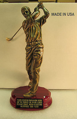 "Golf Trophy Bronze 9 3/4"" Tall Rosewood Base Free Custom Engraving 2 Day Mail"