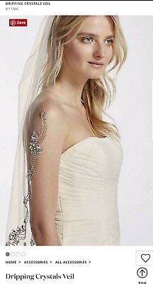 David's Bridal Dripping Crystals Veil, Ivory, V1106 ($249.95)