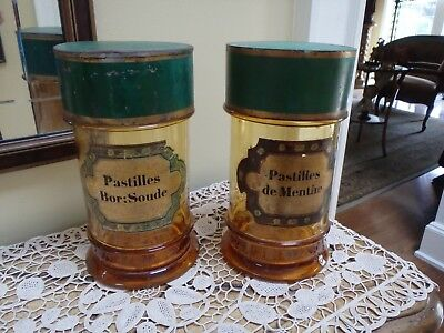 Antique Set HB French Pharmaceutical Amber Glass Jars With Green Tin Lids