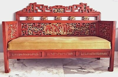 + Antique Qing Dynasty Chinese Bench Throne! Gold Lacquer Asian Sofa Couch Chair