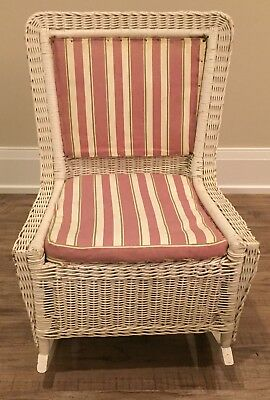 Antique Armless White Wicker Rocker Rocking Chair Pre-1935 Vintage OH Pickup