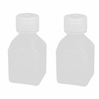 2pcs 40mmx40mmx80mm 60ml HDPE Plastic Rectangle Small Mouth Bottle White