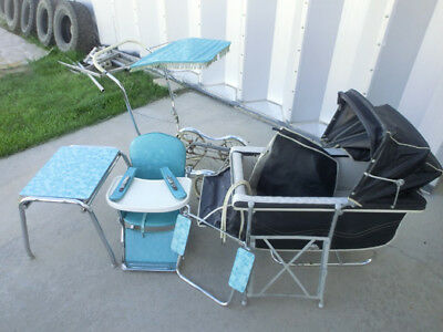 Vintage Rex Stroll-O-Chair Stroller Rocker Chair Table Set w Tons of Accessories