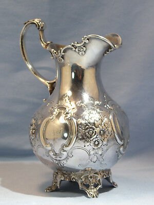 Antique Robert Rait New York Coin Silver Floral Hand Chased Ewer Circa 1850s