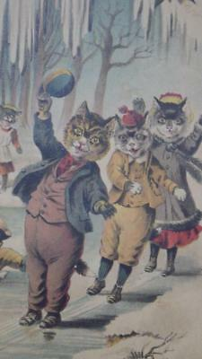 Antique 19th Century Lithograph Victorian Cats Kittens Winter Scene LOVELY!