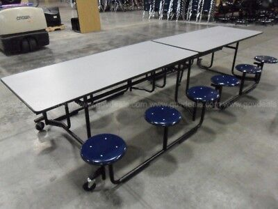 """Portable Folding Cafeteria Tables With Stools. 140"""" X 30"""" When Open. 79"""" Tall"""