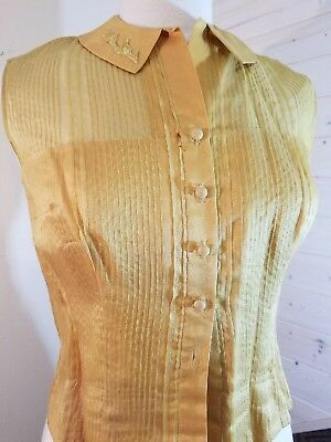 Vintage 1950's Gold Silk Pin-tuck Top Susan Thomas size small