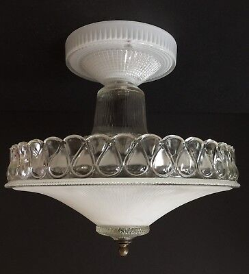"""Vintage ART DECO 1930's Era Glass Light Fixture With Shade Clear Frosted 11"""""""