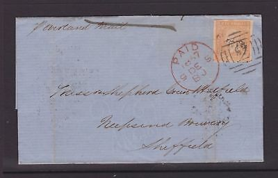 VICTORIA RARE 1857 6d ORANGE WOODBLOCK TIED TO COVER GEELONG TO ENGLAND (DK78)