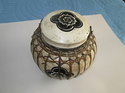 Vintage Large Rice Storage Container Hand Painted Lacquered, Lotus Flowers