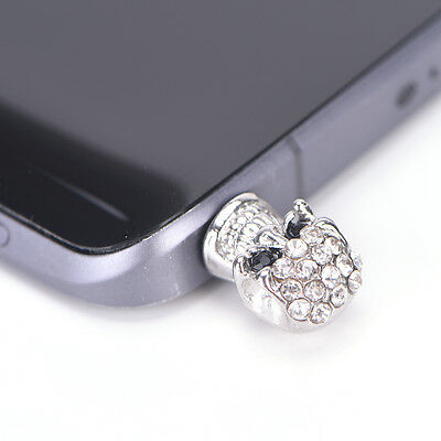 1X diamond skull head general dust plug mobile phone headset dust plug Silver 3C