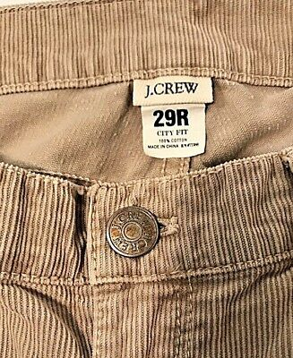J.Crew City Fit Straight Leg Stretch Corduroy Pants Low Rise Sz 29R Light Tan