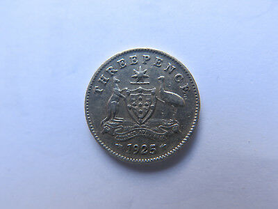1925 AUSTRALIAN SILVER THREEPENCE KING GEORGE V in NICE COLLECTABLE CONDITION