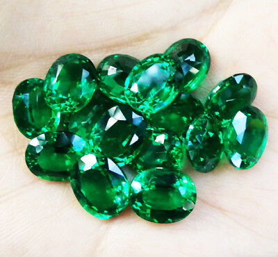 1pc. 10x8mm. EXCELLENT! OVAL CUT LAB BIRON GREEN EMERALD GEM STONE AAA+++