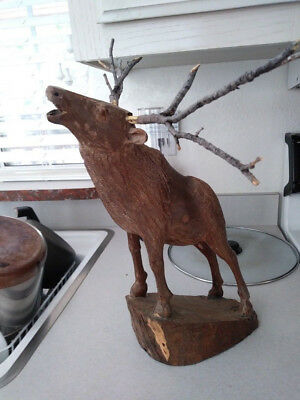 """Hand Carved Solid Ironwood Elk Calling Statue w Twig Removable Antlers 14.5x 12"""""""
