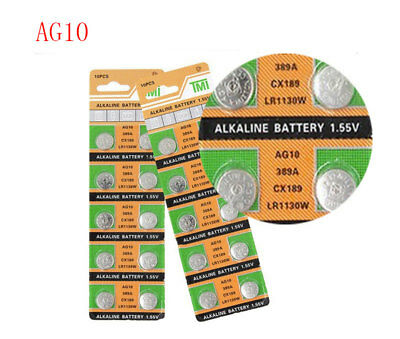 10PC Coin Battery LR1130 AG10 Watch Button Coin 189 389 390 LR54 Battery DT16
