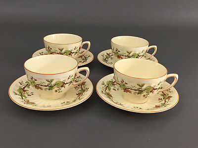 4 Crown Ducal tea cups & saucers, # 3566 EARLY ENGLISH , England c.1934